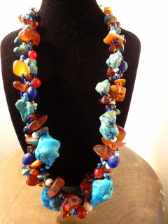 """22"""" Turqoise and Amber Necklace"""