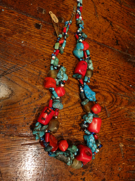 """22"""" Turquoise & Red Dyed Coral Beads"""