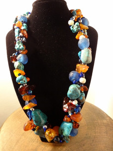 """18"""" Turquoise and Amber Necklace"""