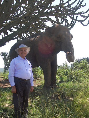 Father Ricardo with Elephant