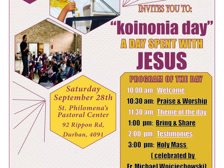Koinonia day in Durban - Coming soon