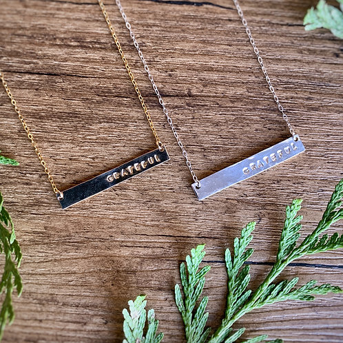 -GRATEFUL- Bar Necklace