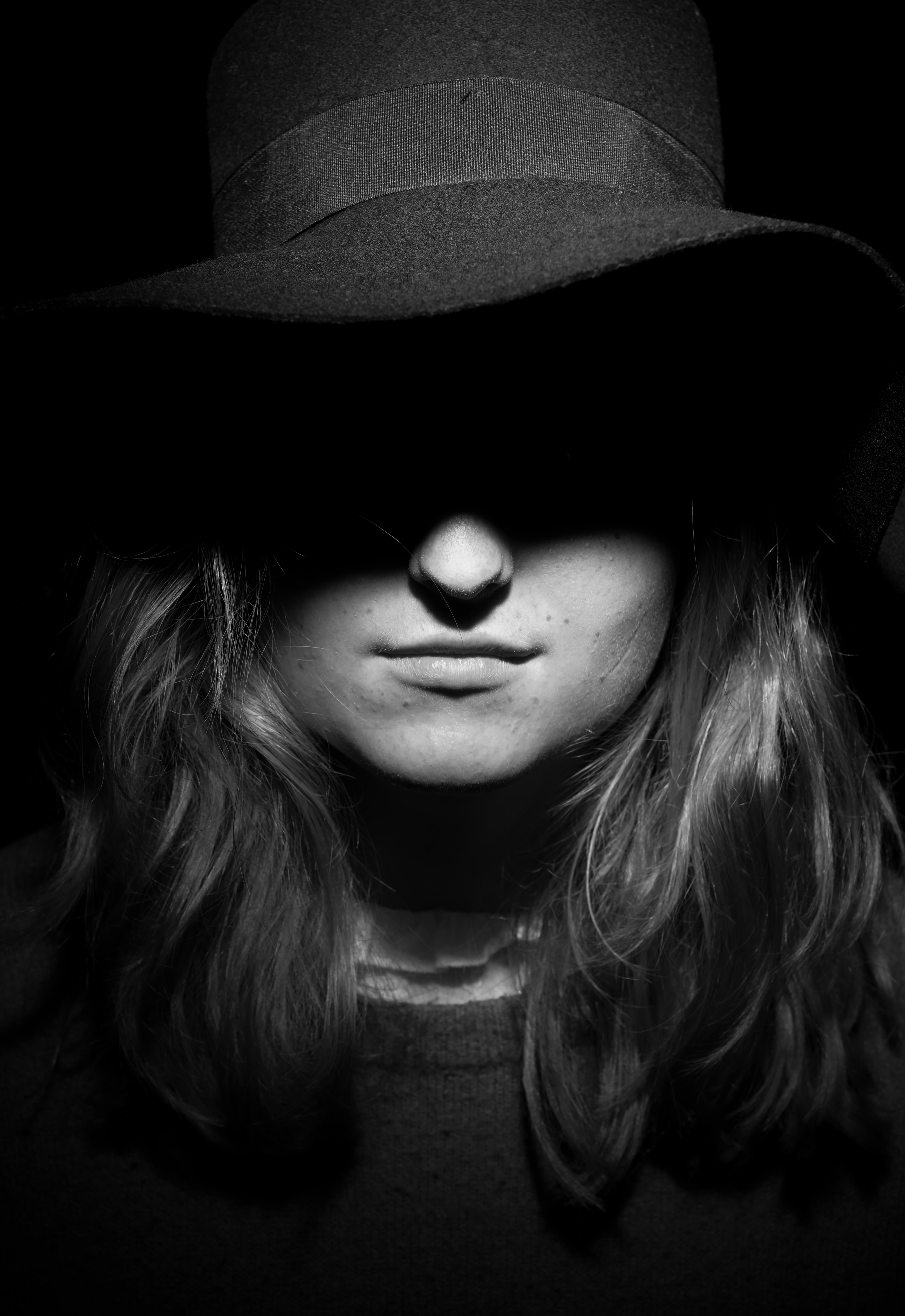 Studio portrait black and white