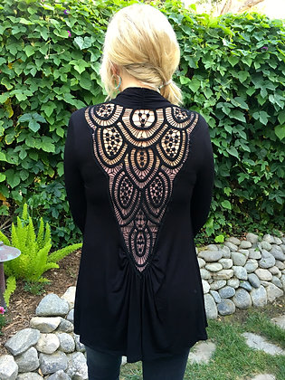 C 284 Black Cardigan W/Black Lace Back in Plus only