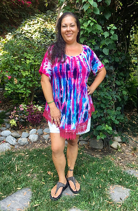 T 579 Cotton Gauze Purple & Blue Fuchsia Lace Trim Top