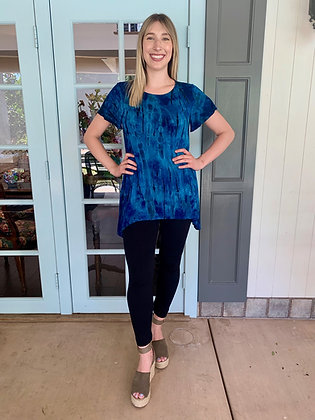 T 609 Multi Blue Round Neck Flutter Sleeve