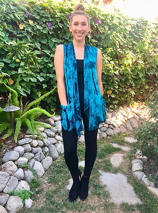 V 324 Turquoise Teal & Black Pocket Vest Plus Size only