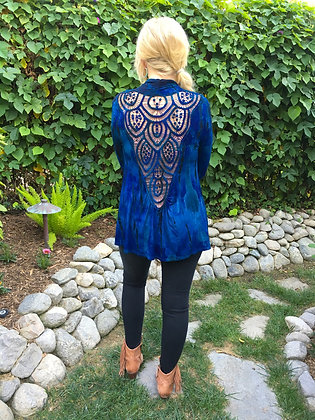 C 285 Multi Blue Lace Back Cardigan Plus Size Only