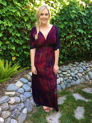 D 199 Merlot & Black Plus Maxi Dress XL 2X 3X
