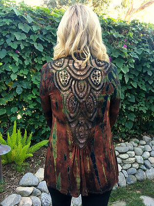 C 291 Brown Rust Lace Back Cardigan Plus Only