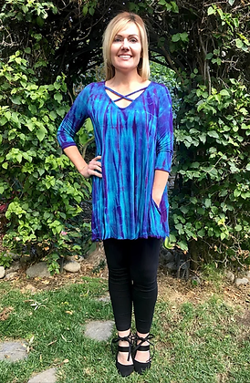 T 544 Criss Cross Turquoise W/Purple V Neck Tunic