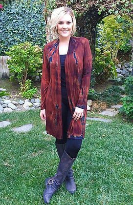 C 260 Multi Rust Long Cardigan