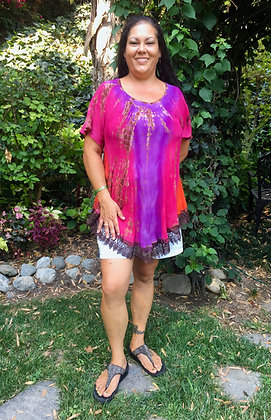 T 578 Fuchsia Orange & Purple W/Brown Lace Cotton Gauze Top