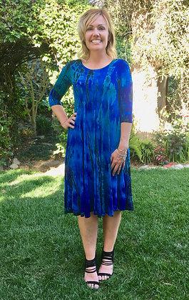 D 213 Multi Blue Tea Length Dress