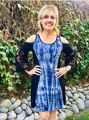 D202 Black & White Lace Sleeve Open Shoulder Dress