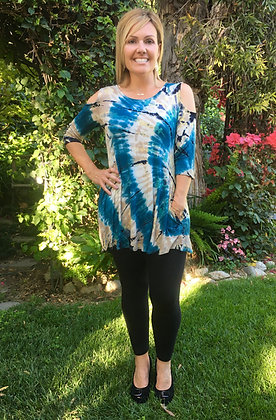 T 569 Teal Beige & Black Open Shoulder Top
