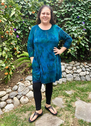 D 265 Teal Forest Green & Black Pocket Tunic Dress