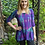 Thumbnail: T 420 Cotton Purple, Blue & Black Round NeckTunic XS S M