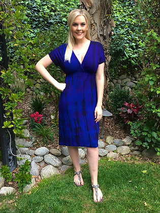 D 167 Royal Purple W/Black Knee Length Dress S M