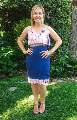 D 232 Navy Pink Ruffle Halter Summer Dress