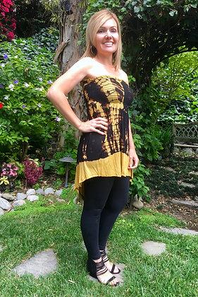 D 214 Mustard & Black Hi Low Tunic Dress
