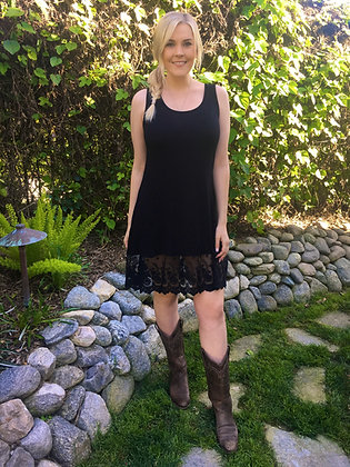 D 172 Black Lace Trim Tunic Top/Dress