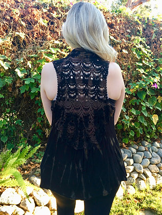 V 309 Black & Brown Lace Back Vest L/XL or Plus