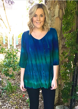 T 437 Multi Blue V Neck Bell Sleeve Tunic XS S M