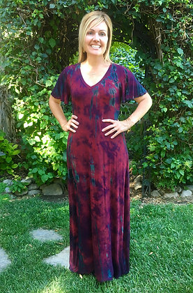 D 221 Merlot Red Summer Maxi Dress