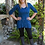 Thumbnail: T 345 Teal with Black V Neck Tunic XS S M