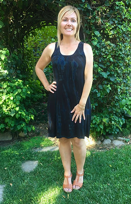 D 225 Marble & Black Lace Back Tank Dress