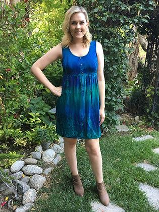 D 146 Blue Green W/Black Empire Dress