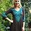Thumbnail: T 349 Brown W/Turquoise Stitch Tunic