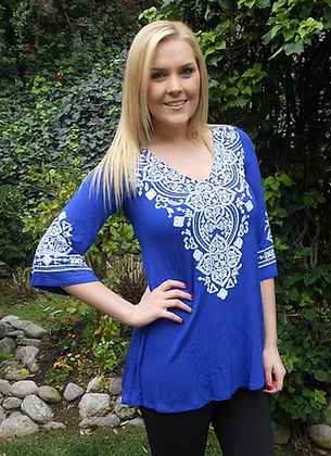 T 400 Royal Blue W/Stitch Tunic Top