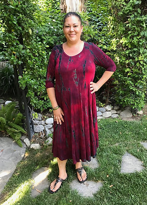 D 264 Merlot Plus Size Pleated Tea Length Dress