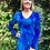 Thumbnail: T 533 Blue Split Bottom Tunic Long Sleeve Top