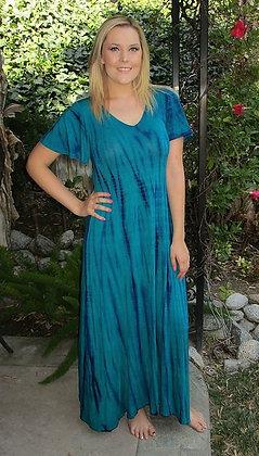 D 093 Blue & Purple Bamboo Flutter Sl Maxi Dress