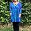 Thumbnail: T 544 Criss Cross Turquoise W/Purple V Neck Tunic