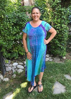 D 263 Light Blue Purple & Green Cotton Gauze Dress