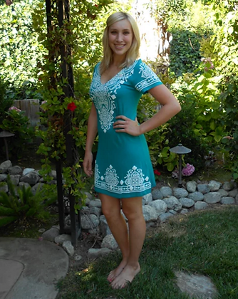 D 036 Short Sl Green Stitch Dress XS S ONLY