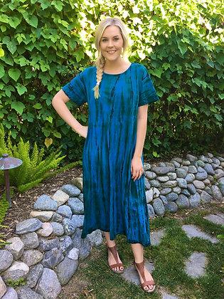 D 196 Blue Green & Brown Tea Length Dress