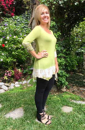 T 562 Lime Green & White Scoop Neck Top
