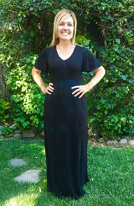 D 223 Black Dark Marble Summer Maxi Dress