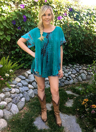 T 515 Turquoise, Teal & Brown Cotton Gauze Top