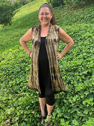 V 704 Olive Green & Black Long Vest