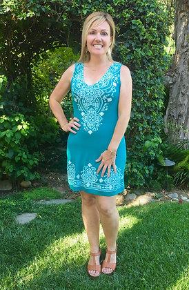 D 227 Jade Green & White Stitch Tank Dress