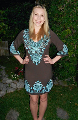 D 010 3/4 Sleeve Brown Turquoise Dress XS S SALE