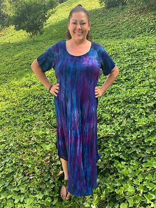 D 701 Blue Purple & Black Cotton Gauze Dress