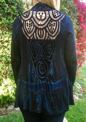 C 319 Marble & Black Cotton Crochet Cardigan Plus Only