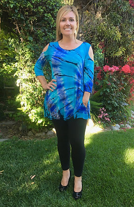 T 568 Turquoise & Periwinkle Open Shoulder Top